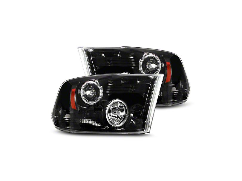 Recon Smoked / Black Projector Headlights w/ LED Halos & Daytime Running Lights (09-18 RAM 1500 w/o Projector Headlights)