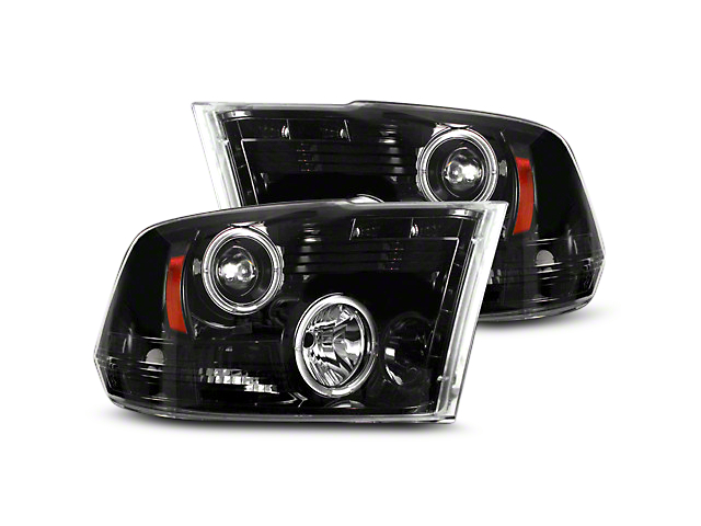 Smoked / Black Projector Headlights w/ LED Halos & Daytime Running Lights (09-18 RAM 1500 w/o Projector Headlights)