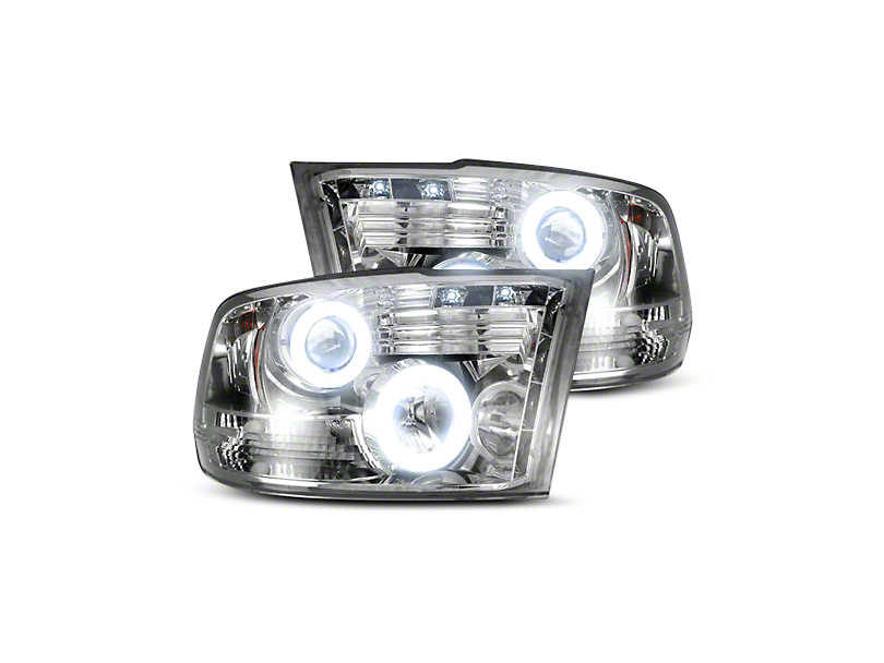 Recon Clear / Chrome Projector Headlights w/ CCFL Halos & Daytime Running Lights (09-18 RAM 1500 w/o Projector Headlights)