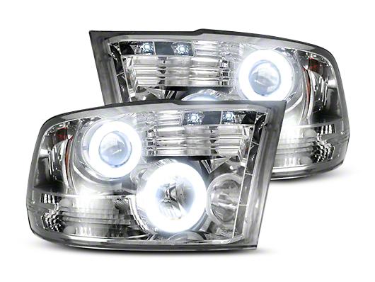 Recon Clear / Chrome Projector Headlights w/ CCFL Halos & Daytime Running Lights (09-18 RAM 1500 w/o Projector Headlights)