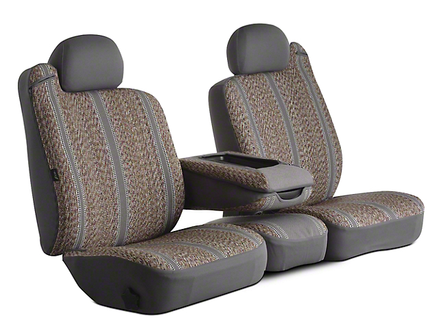 Fia Custom Fit Saddle Blanket Front Seat Covers - Gray (02-08 RAM 1500 w/ Bench Seat)