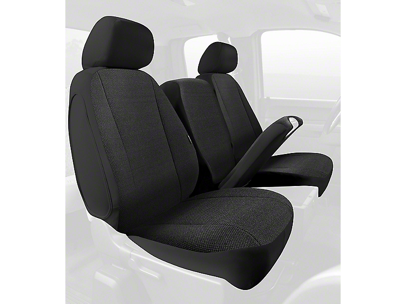 Fia Custom Fit Solid Saddle Blanket Front Seat Covers - Black (02-08 RAM 1500 w/ Bench Seat)