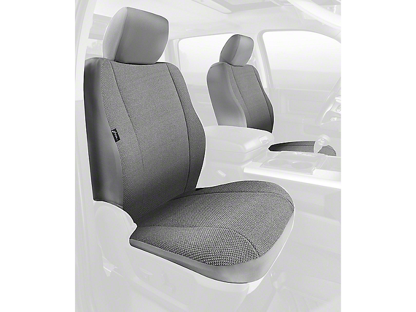 Fia Custom Fit Solid Saddle Blanket Front Seat Covers - Gray (09-18 RAM 1500 w/ Bucket Seats)