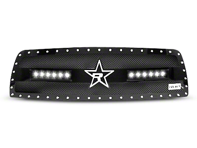 RBP RX-3 Midnight Edition Studded Frame Upper Grille Insert w/ LEDs - Black (13-18 RAM 1500, Excluding Rebel)