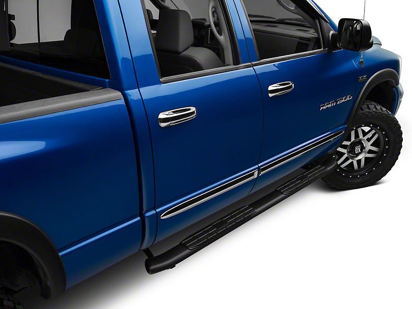 Barricade Pinnacle 4 in. Oval Bent End Side Step Bars - Textured Black (02-08 RAM 1500 Quad Cab)