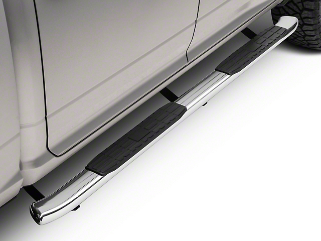 Barricade Pinnacle 4 in. Oval Bent End Side Step Bars - Stainless Steel (09-18 RAM 1500 Quad Cab, Crew Cab)