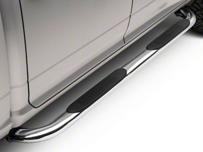 Barricade 4 in. Oval Bent End Side Step Bars - Stainless Steel (09-18 RAM 1500 Crew Cab)
