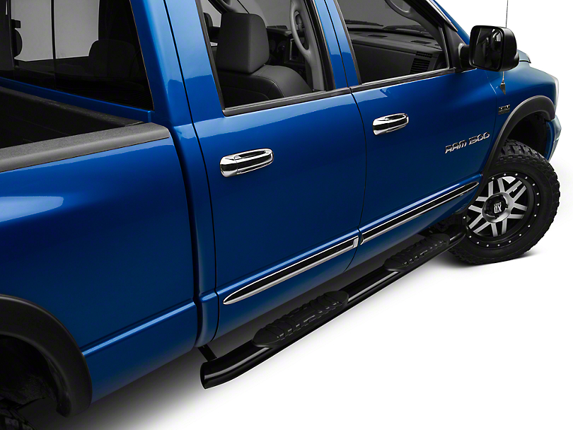 Barricade 5 in. Oval Bent End Side Step Bars - Black (02-08 RAM 1500 Quad Cab)