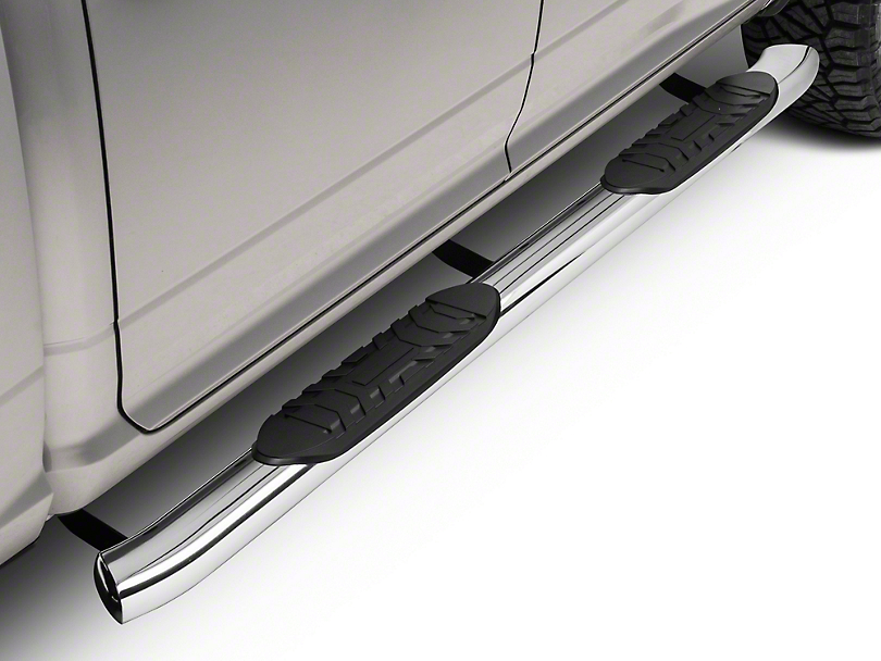 Barricade 5 in. Oval Bent End Side Step Bars - Stainless Steel (09-18 RAM 1500 Quad Cab, Crew Cab)