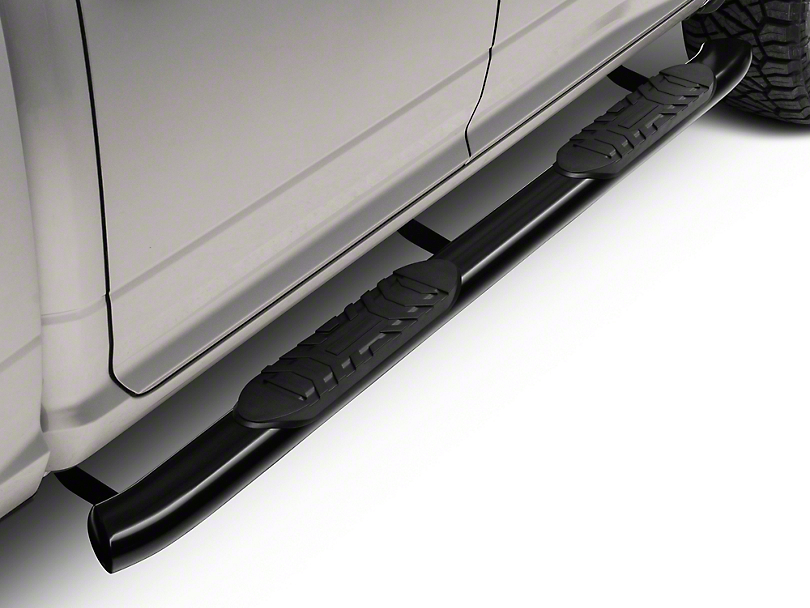 Barricade 5 in. Oval Bent End Side Step Bars - Black (09-18 RAM 1500 Quad Cab, Crew Cab)