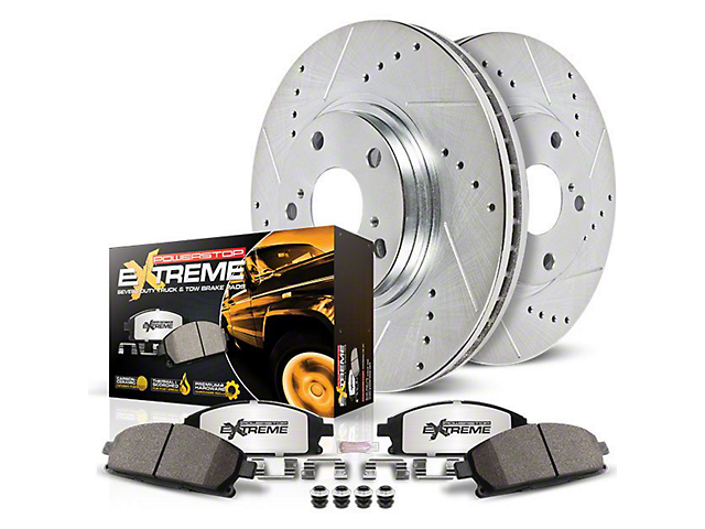 Power Stop Z36 Extreme Truck and Tow Brake Rotor and Pad Kit; Front (02-18 RAM 1500)