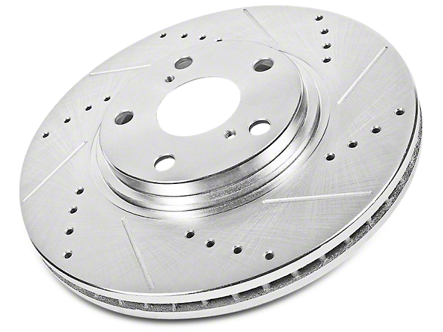 Power Stop Evolution Cross-Drilled and Slotted Rotors; Rear Pair (02-18 RAM 1500, Excluding Mega Cab)