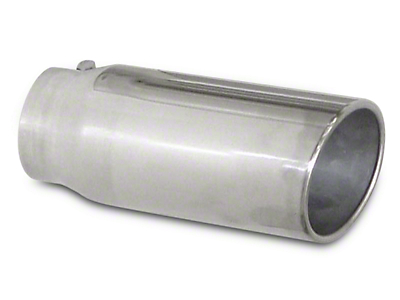 Pypes 5 in. Rolled Angled Cut Exhaust Tip - Polished Stainless - 2.5 in. Connection (02-19 RAM 1500)