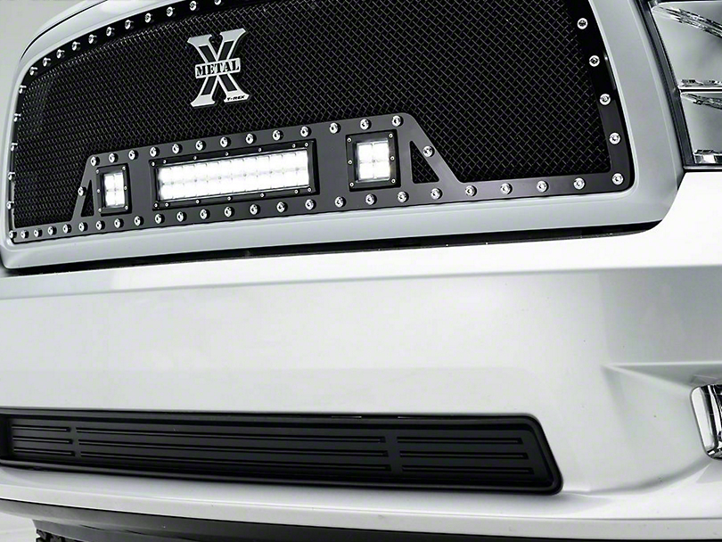 T-REX Torch Series Upper Grille Insert w/ Two 3 in. LED Cubes & 12 in. LED Light Bar - Black (09-12 RAM 1500)