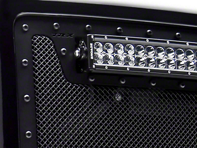 T-REX Stealth Metal Series Upper Grille Insert w/ Two 3 in. LED Cubes & 12 in. LED Light Bar - Black (09-12 Ram 1500)