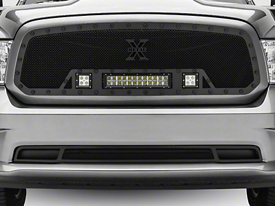 T-REX Stealth Metal Series Upper Grille Insert w/ Two 3 in. LED Cubes & 12 in. LED Light Bar - Black (13-18 RAM 1500, Excluding Rebel & Sport)