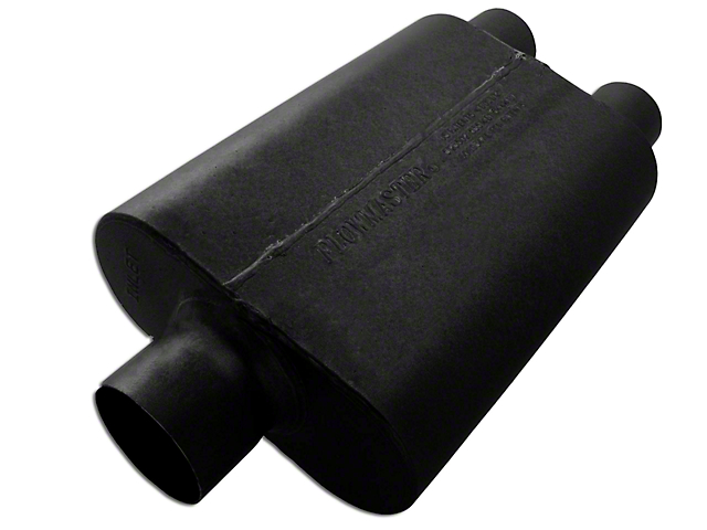 Flowmaster Super 44 Series Center/Dual Out Oval Muffler; 3-Inch Center In / 2.50-Inch Dual Out (Universal Fitment)