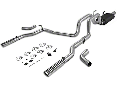 Flowmaster American Thunder Aluminized Steel Dual Exhaust System - Side/Rear Exit (02-08 4.7L RAM 1500)