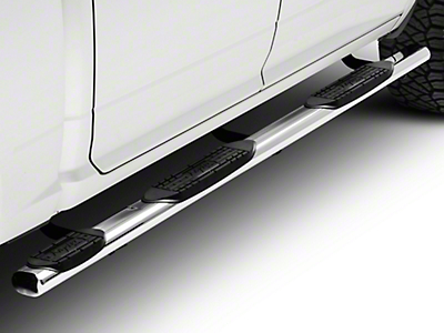Raptor Series 4 in. Oval Wheel to Wheel Side Step Bars - Polished Stainless (09-18 RAM 1500 Quad Cab, Crew Cab)
