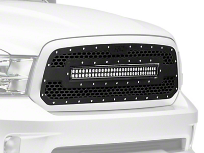 Rough Country Mes Upper Replacement Grille w/ 30 in. LED Light Bar - Black (13-18 RAM 1500, Excluding Rebel)