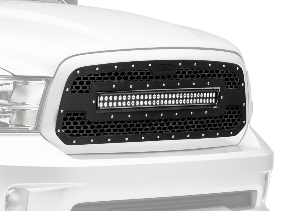 Rough Country Mesh Upper Grille Insert W 30 In Led Light Bar Black 13 18 Ram 1500 Excluding Limited Rebel