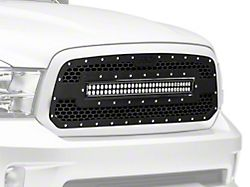 Rough Country Mesh Upper Grille Insert w/ 30 in. LED Light Bar - Black (13-18 RAM 1500, Excluding Rebel)