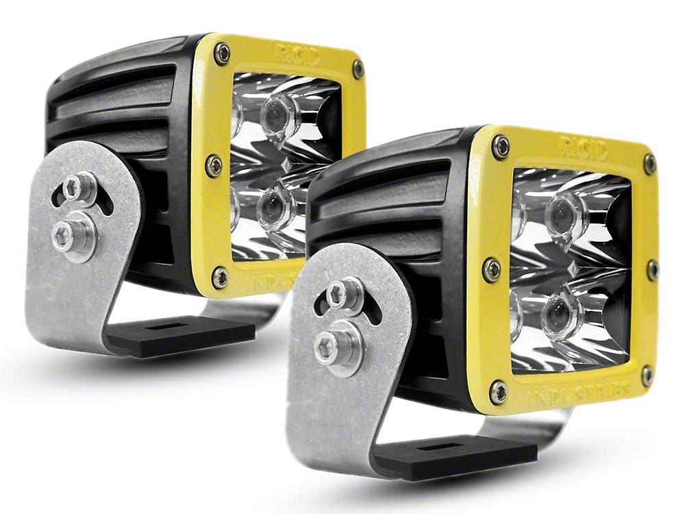 Rigid Industries D-Series HD LED Cube Lights w/ Yellow Surround - Spot Beam - Pair (02-18 RAM 1500)