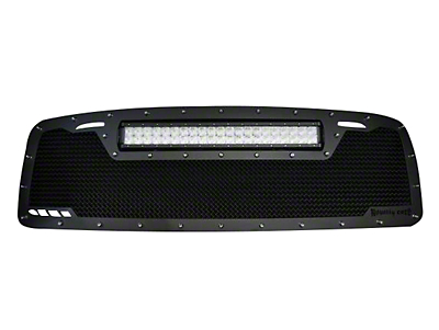 Royalty Core RCRX Race Line Upper Replacement Grille w/ Top Mounted 23 in. LED Light Bar - Satin Black (02-05 RAM 1500)