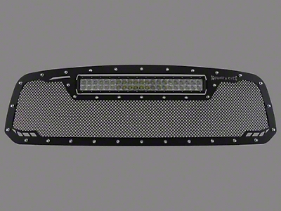 Royalty Core RCRX Race Line Upper Replacement Grille w/ Top Mounted 23 in. LED Light Bar - Satin Black (13-18 RAM 1500, Excluding Rebel)