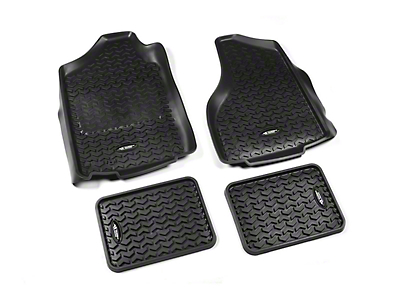 Rugged Ridge All-Terrain Front & 2nd Row Floor Liners - Black (02-11 RAM 1500 Quad Cab, Mega Cab)