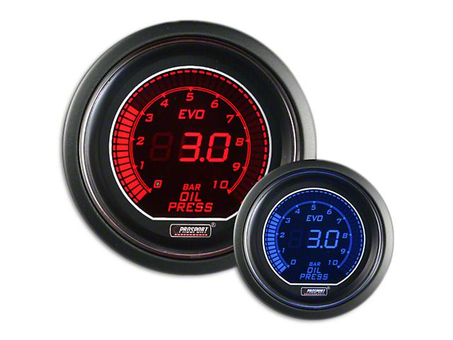 Prosport Dual Color Evo 0-10 BAR Oil Pressure Gauge; Electrical; Red/Blue (Universal Fitment)
