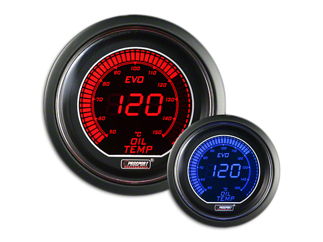 Prosport 52mm EVO Metric Series Celsius Oil Temperature Gauge; Electrical; Blue/Red (Universal Fitment)