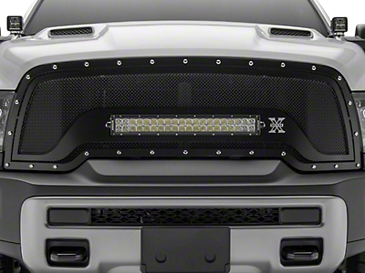 T-REX Torch Series Upper Replacement Grille w/ 20 in. Straight LED Light Bar - Black (15-18 RAM 1500 Rebel)