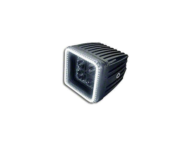 Oracle 3 in. Off-Road Series Square LED Light w/ White Halo - Spot Beam