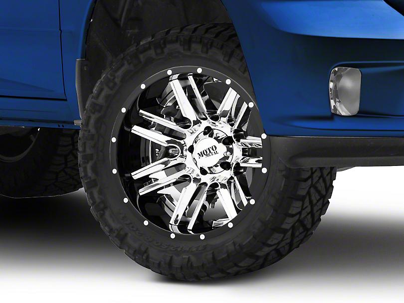 Moto Metal MO202 Chrome w/ Gloss Black Milled Lip 5-Lug Wheel - 20x12; -44mm Offset (02-18 RAM 1500, Excluding Mega Cab)