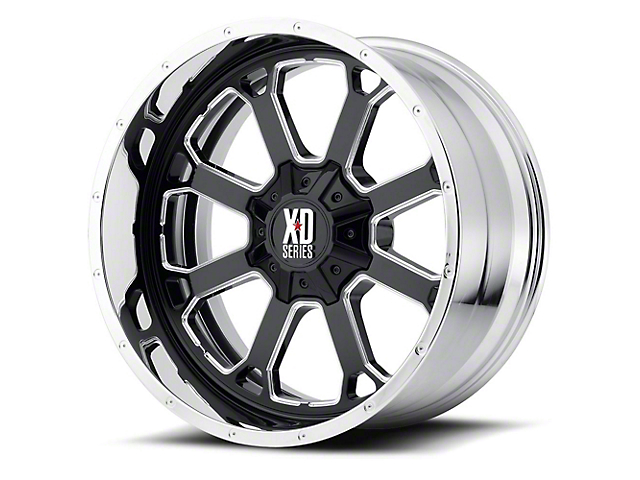 XD Buck 25 Gloss Black Milled w/ Chrome Lip 5-Lug Wheel; 22x12 (02-18 RAM 1500, Excluding Mega Cab)