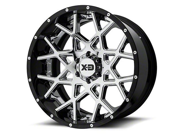XD Chopstix Chrome w/ Gloss Black Milled Lip 5-Lug Wheel; 20x12 (02-18 RAM 1500, Excluding Mega Cab)