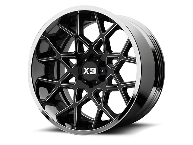 XD Chopstix Gloss Black Milled w/ Chrome Lip 5-Lug Wheel; 20x12 (02-18 RAM 1500, Excluding Mega Cab)