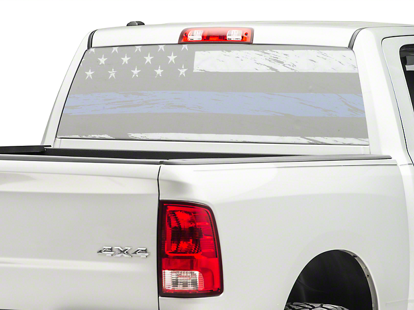 Perforated Real Flag Rear Window Decal w/ Blue Line (02-19 RAM 1500)