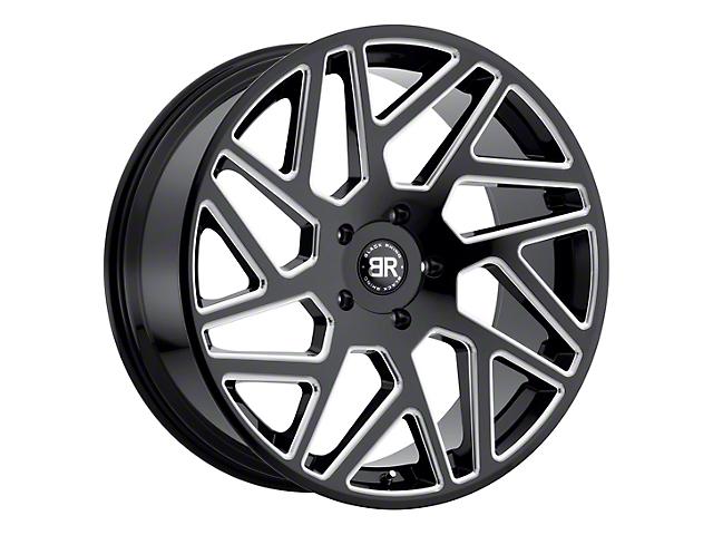 Black Rhino Cyclone Gloss Black Milled 5-Lug Wheel; 22x9.5; 20mm Offset (09-18 RAM 1500)