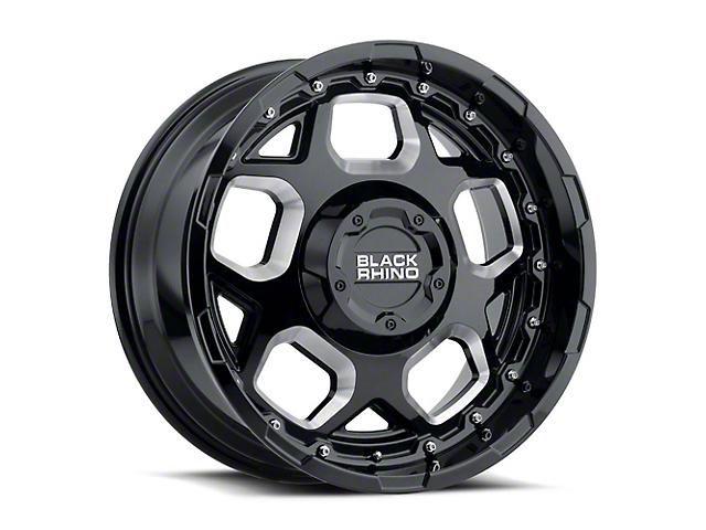 Black Rhino Gusset Gloss Black Milled 5-Lug Wheel; 17x9.5; 0mm Offset (09-18 RAM 1500)