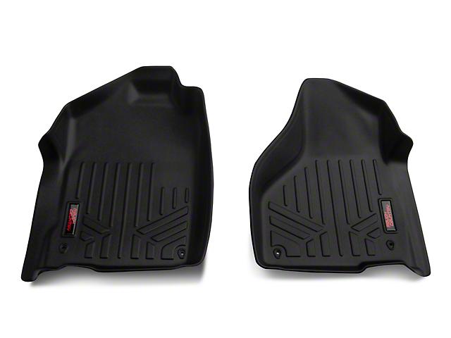 Rough Country Heavy Duty Front Floor Mats; Black (12-18 RAM 1500 Regular Cab, Quad Cab)