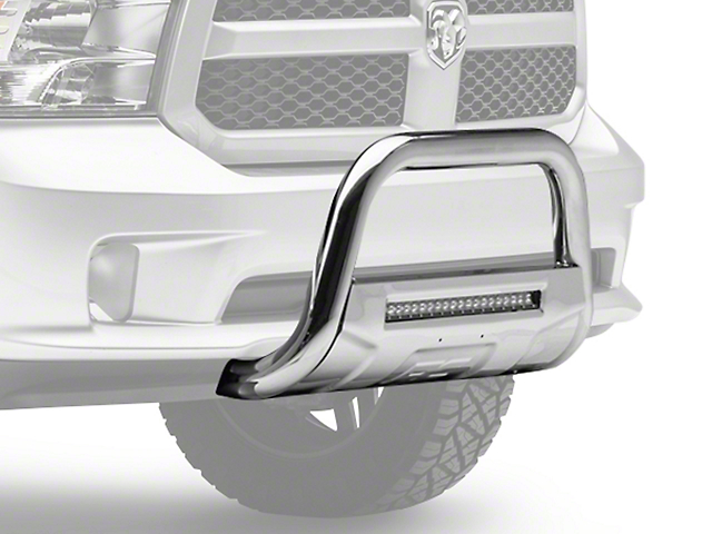 Rough Country Bull Bar with LED Light Bar; Stainless Steel (09-18 RAM 1500, Excluding Rebel)