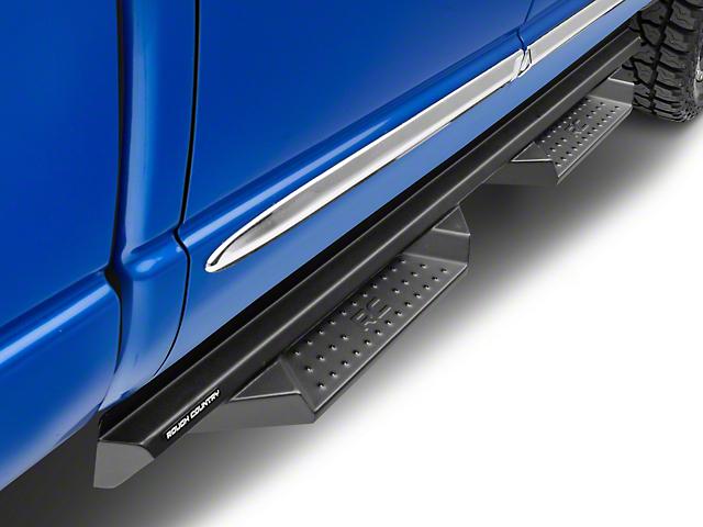 Rough Country Cab Length DS2 Drop Side Step Bars; Black (02-08 RAM 1500 Quad Cab)