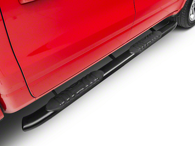 Barricade 5-Inch Oval Bent End Side Step Bars; Black (19-21 RAM 1500 Crew Cab)
