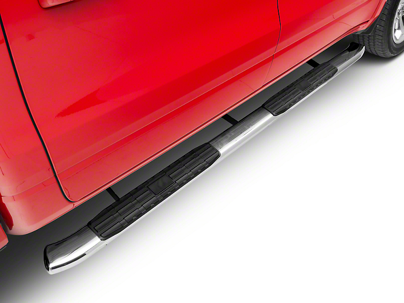 Barricade Pinnacle 4 in. Oval Bent End Side Step Bars - Polished Stainless (2019 RAM 1500 Crew Cab)