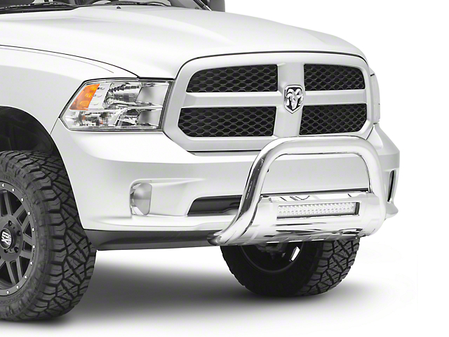 Barricade HD Bull Bar with Skid Plate and 20-Inch LED Light Bar; Stainless Steel (09-18 RAM 1500, Excluding Rebel)