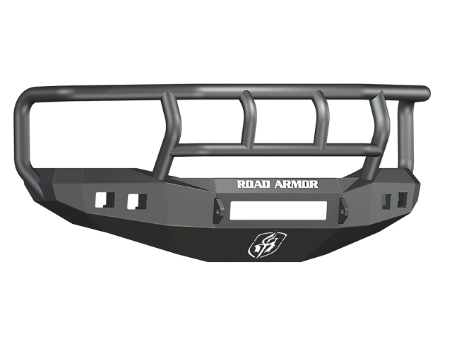 Road Armor Stealth Non-Winch Front Bumper with Titan II Guard and Square Light Mounts; Satin Black (06-08 RAM 1500)