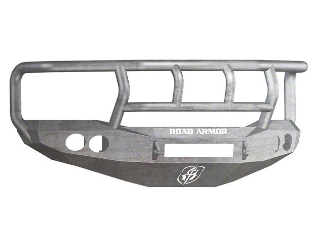 Road Armor Stealth Non-Winch Front Bumper w/ Titan II Guard & Round Light Mounts - Raw (06-08 RAM 1500)