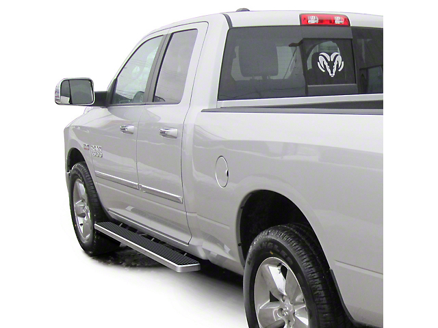 4-Inch iStep Running Boards; Hairline Silver (09-18 RAM 1500 Quad Cab)